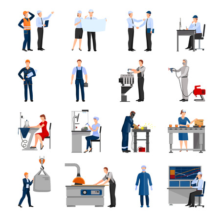Icons set of drawn in flat style different factory workers from engineer to conveyor operator isolated vector illustration