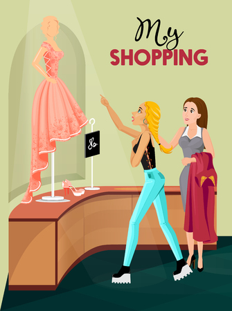 clothes shop: Young blonde girl  and seller looking at dummy in rose dress in interior of clothes shop flat vector illustration Illustration
