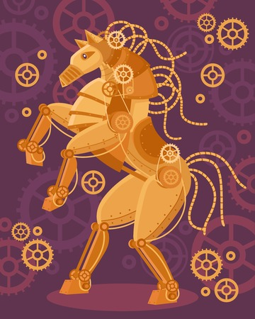 Steampunk art golden horse poster mechanical figurine and mechanisms around on a purple background vector illustration