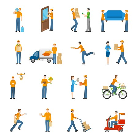 delivery icon: Delivery courier people delivering goods by different types of transport icons set on white background flat isolated vector illustration