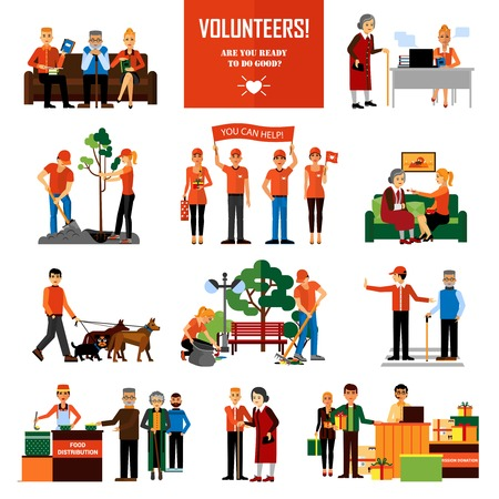 Volunteers decorative icons set with young people helping elderly and animals planting and cleaning city flat vector illustration Çizim