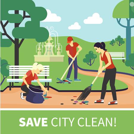 Groep van jonge meisjes en jongens vrijwilligerswerk door het schoonmaken van de weg in de stad tuin flat vector illustratie