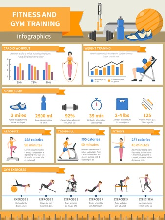 describing: Fitness and gym training infographics presenting sport gear and describing exercises with pictures diagrams time and burnt calories flat vector illustration