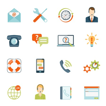 offline: Contact us customer colorful icons set of online and offline support services on white background isolated flat vector illustration