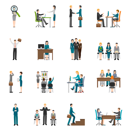 Recruitment HR people interviewing applicants flat icons set on white background isolated vector illustration Stock Illustratie