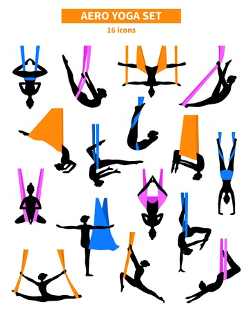 Aero yoga black white isolated icon set with silhouettes of women training in colored fabrics vector illustration Çizim