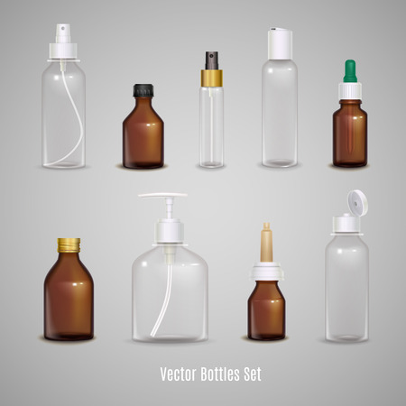 Images set of different transparent empty bottles using to package medicine or perfume realistic isolated vector illustration