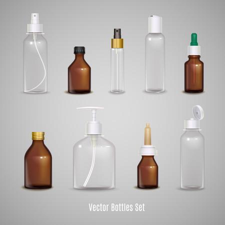 Immagini serie di diverse bottiglie vuote trasparenti utilizzando per imballare medicina o profumo illustrazione vettoriale isolato realistico