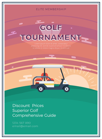 an elite: Elite membership golf tournament flat icon poster with email address and golf car at sunrise or sunset in the middle vector illustration