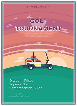membresía Elite torneo de golf cartel icono plana con dirección de correo electrónico y carrito de golf al amanecer o al atardecer en el medio ilustración vectorial Ilustración de vector