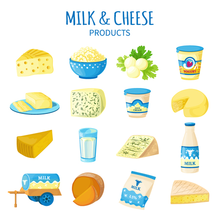 Color icons set of dairy products with cheese butter curd yogurt sour cream and milk bottle isolated vector illustration Illustration