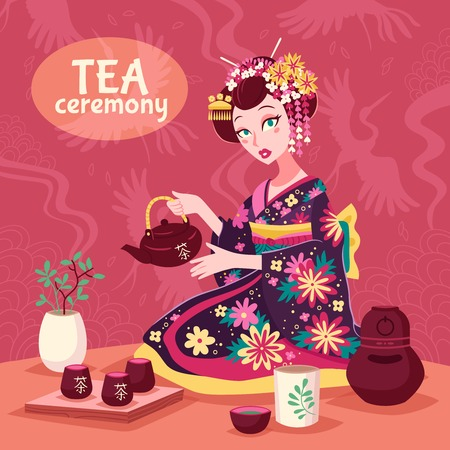 tea ceremony: Tea ceremony poster with a woman in national dress making a delicious cup of tea vector illustration
