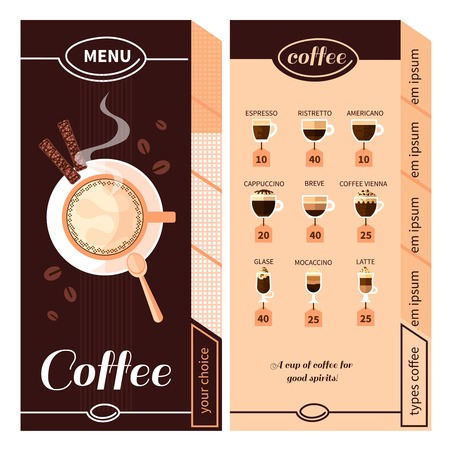 coffeehouse: Coffee menu design for coffeehouse restaurant cafe or bar with names of coffee types plate and cigars flat vector illustration