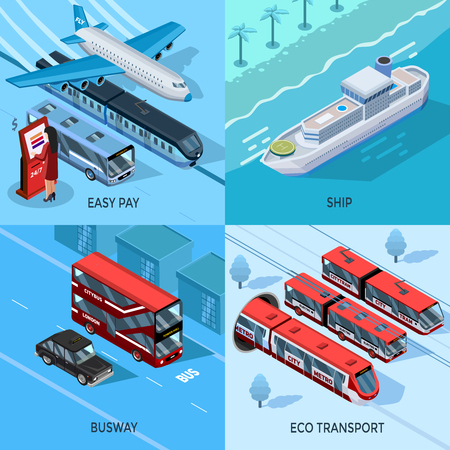 intercity: Passenger and public transport isometric 2x2 design concept set of city intercity water and eco transportation vector illustration Illustration