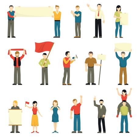 conflictos sociales: Animando a las personas que protestan iconos decorativos conjunto con las banderas de hombres mujeres bufanda pancartas el megáfono ilustración vectorial aislado