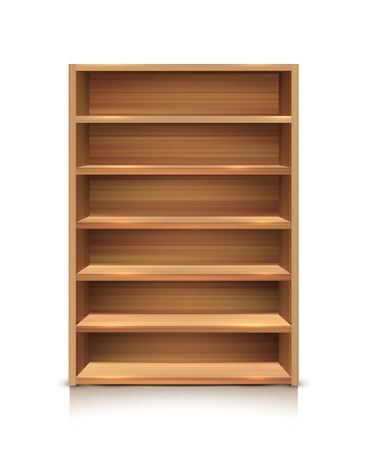 product placement: Realistic wooden supermarket shelves icon for product placement in stores isolated and colored vector illustration