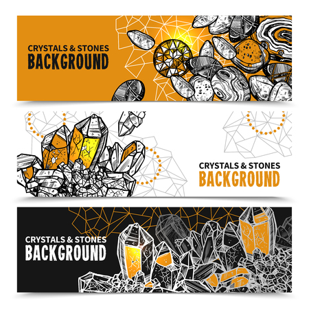 crystals: Crystals And Stones Sketch Concept. Crystals And Stones Horizontal Banners. Crystals And Stones Vector Illustration. Crystals Hand Drawn Set. Crystals And Stones Design Symbols.