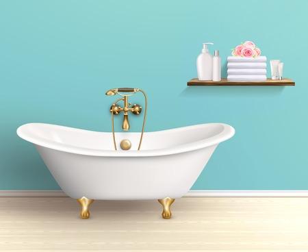 浴室インテリア ポスターやプロモーション チラシ バスタブ バスタブ アクセサリー ベクトル図で青い壁棚のある家に
