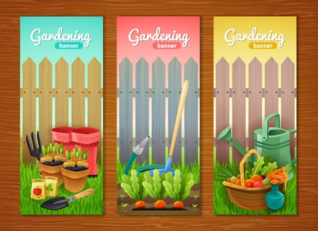 pruning: Colorful collection of gardening vertical banners with tools sprout in pots and garden beds and basket of harvest at wooden fence background flat vector illustration