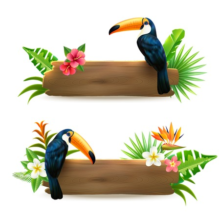 Toucan sitting on wooden board with tropical rain forest flowers 2 realistic banners set isolates vector illustration