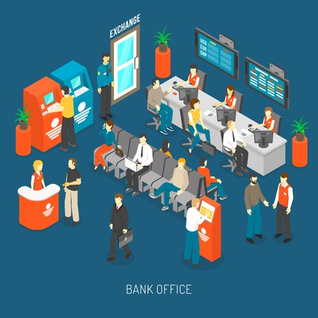 Bank Office Concept. Bank Office Interior. Bank Office Design. Bank Office Isometric Illustration. Bank Office Vector.