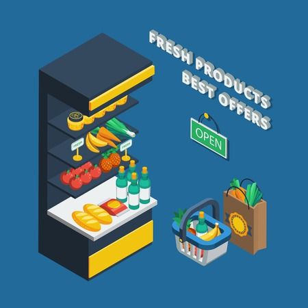 banana bread: Isometric shelving icon in abstract shop and different accessories like shopping basket  pack and open plate vector illustration