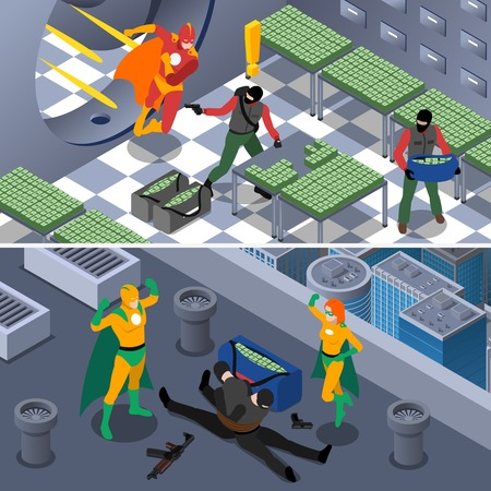 robbery: Superhero And Robbery Isometric Concept. Superheroes Horizontal Banners. Superhero Vector Illustration. Superhero And Bank Robbery Set. Superhero Saving Bank Design Symbols. Superhero Elements Collection. Superheroes And Robbery Compositions.