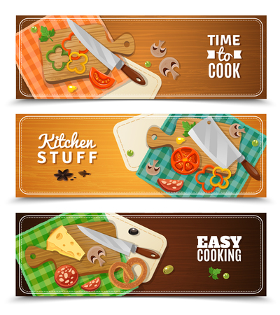 Cooking horizontal banners with kitchen knife and food on wooden chopping boards and checkered cloth napkins flat vector illustration