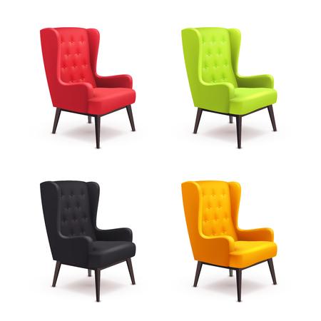 Sedia icona realistiche hanno impostato quattro sedie identiche con diversi colori sono morbidi colorati con gambe in legno illustrazione di vettore Vettoriali
