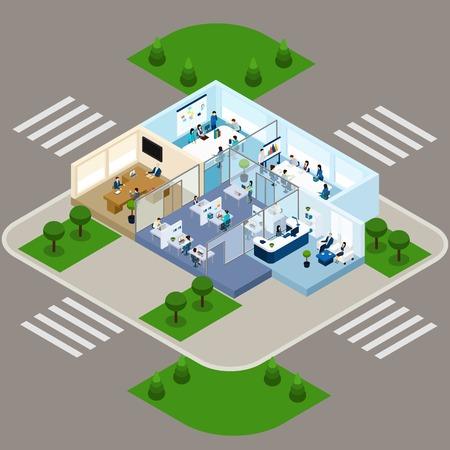 empleados trabajando: esquema isométrico de un resumen estratificado oficina con espacio de trabajo abierto y dividiendo por paredes de cristal ilustración del vector