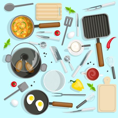 トップ ビューのセットを調理します。シェフ職場ベクトル イラスト。キッチン調理器具漫画記号。キッチン機器デザイン セット。 キッチンと調理
