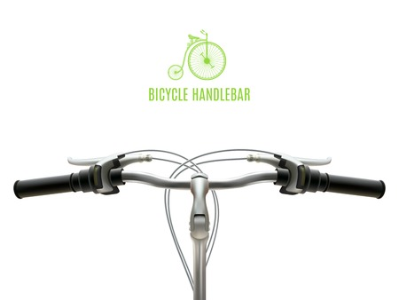 handlebar: Poster with realistic bicycle handlebar iron with black rubber grips on white background vector illustration Illustration