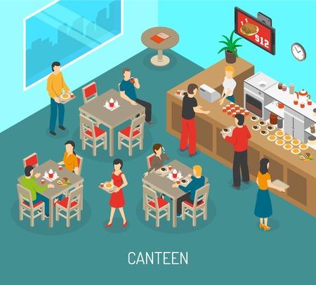 La comida en el cartel isométrica lugar de trabajo con las comidas del almuerzo comedor para empleados de la compañía y la ilustración vectorial resumen de director