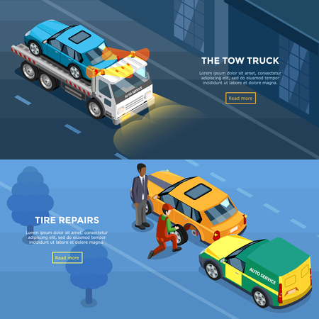 spare parts: Two isometric car service horizontal banners with tire repairs and tow truck design compositions vector illustration