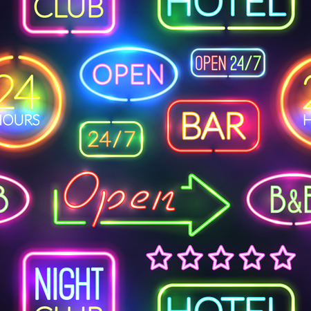 Seamless background pattern with neon sight multicolored and isolated on black background vector illustration
