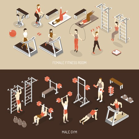 gym workout: Fitness isometric horizontal banners with female training room male gym scales ladder weight dumbbells isolated vector illustration Illustration