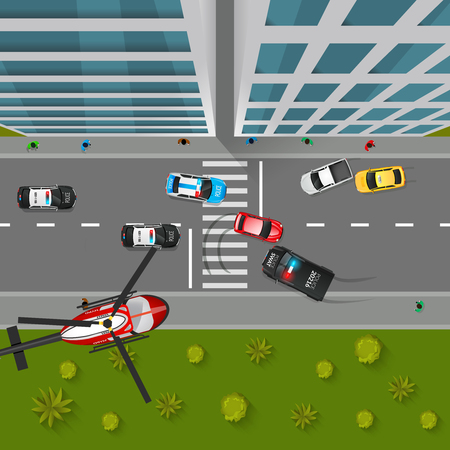 drifting: Police Chase Top View Background. Police Chase Vector Illustration. Police Chase Cartoon Design. Police Chase Decorative Symbols. Illustration