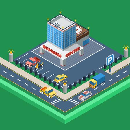 car business: Business Center Concept.Business Center Building. Car Parking Design. Business Center Isometric Illustration. Business Center Vector.