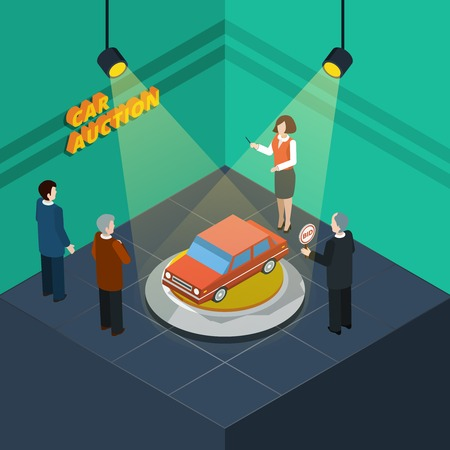 show time: Isometric car auction process abstract with bidding people looking at the car presented vector illustration