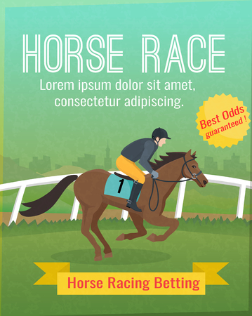 odds: Color poster with title showing horse sport riding vector illustration