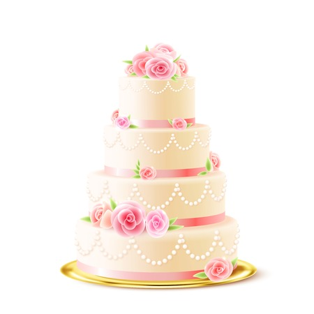 古典的な 3 階層型おいしい結婚式ケーキと白のアイシングで飾られてクリーム バラ現実的なベクトル図