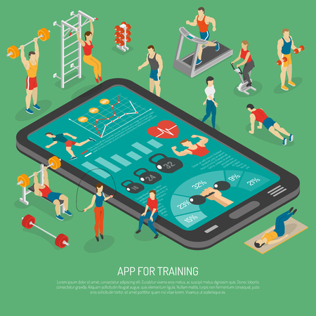 fitness center: Best fitness training with smart phone accessories apps to stay in shape isometric poster abstract vector illustration