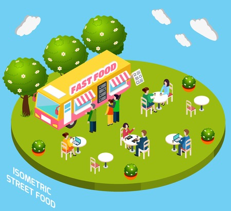 ready to eat: Street food cart ready to eat service selling hot dogs and pizza isometric poster abstract vector illustration Illustration