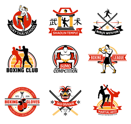 edged: Martial clubs colorful emblems with edged weapon sumo boxing chinese temple combat skill school isolated vector illustration Illustration