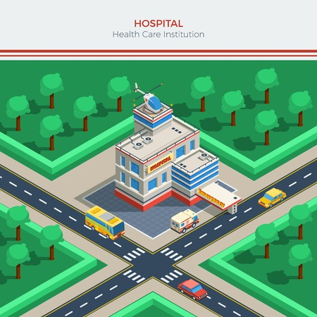 crossroad: Isometric city constructor with hospital building helicopter on roof crossroad ambulance and cars vector illustration