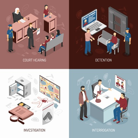 criminals: Law system isometric concept with arrest of criminals court hearing investigation interrogation isolated vector illustration