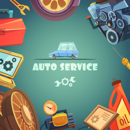 wheel change: Auto service cartoon background with maintenance and repair symbols vector illustration Illustration
