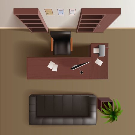 Office work room with wooden bookshelves desk computer plant and leather sofa top view realistic vector illustration Illustration