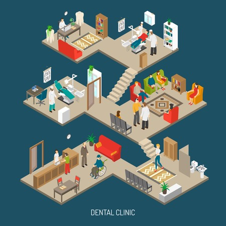 clínica de la práctica odontológica construcción de cartel composición isométrica con la oficina del doctor sala de operaciones y la ilustración vectorial resumen de la recepción