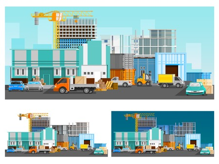 warehouse building: Warehouse building and logistics orthogonal compositions set with cars flat isolated vector illustration